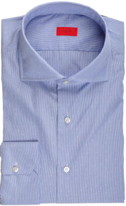 Isaia Napoli Dress Shirt Cotton 43 17 Blue Micro Stripe Fancy