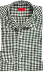 Isaia Napoli Dress Shirt Cotton 43 17 Green White Check