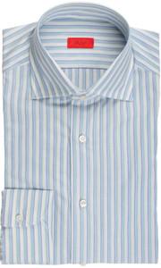Isaia Napoli Dress Shirt Cotton 41 16 Blue Green Stripe