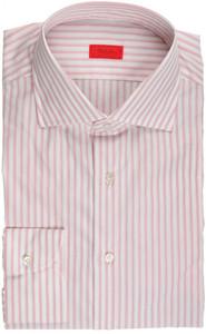 Isaia Napoli Dress Shirt Cotton 41 16 Pink White Stripe
