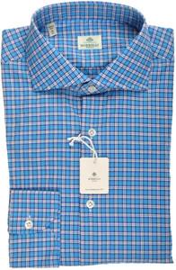 Luigi Borrelli Napoli Dress Shirt 41 16 Blue White Check