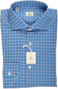 Luigi Borrelli Napoli Dress Shirt 41 16 Blue White Check 05SH0134
