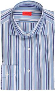 Isaia Napoli Dress Shirt Cotton 39 15 1/2 Blue White Stripe 06SH0170