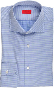 Isaia Napoli Dress Shirt Cotton 39 15 1/2 Blue White Check 06SH0165