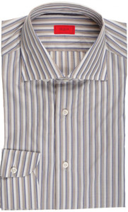 Isaia Napoli Dress Shirt Cotton 39 15 1/2 Blue Brown Stripe 06SH0179