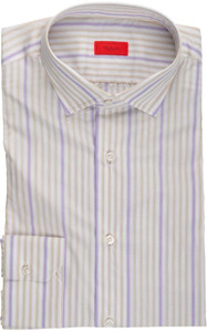 Isaia Napoli Dress Shirt Cotton 39 15 1/2 Brown Purple Stripe 06SH0177