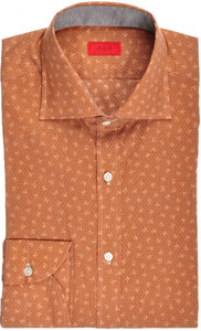 Isaia Napoli Dress Shirt Cotton 39 15 1/2 Brown Coral Geometric 06SH0176
