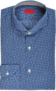 Isaia Napoli Dress Shirt Cotton 39 15 1/2 Blue Coral Geometric 06SH0175