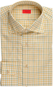 Isaia Napoli Dress Shirt Cotton 38 15 Yellow Green Check 06SH0197