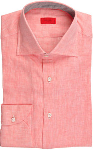 Isaia Napoli Dress Half Placket Shirt Linen 39 15 1/2 Pink 06SH0196