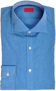 Isaia Napoli Dress Shirt Cotton Linen 39 15 1/2 Blue