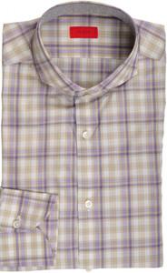 Isaia Napoli Dress Shirt Cotton 39 15 1/2 Brown Purple Check 06SH0207