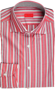 Isaia Napoli Dress Half Placket Shirt Cotton 39 15 1/2 Red Gray 06SH0206