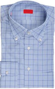 Isaia Napoli Dress Shirt Cotton 43 17 Blue White Check