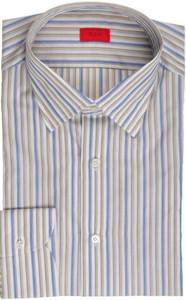 Isaia Napoli Dress Shirt Cotton 39 15 1/2 Brown Blue Stripe 06SH0223