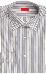 Isaia Napoli Dress Shirt Cotton 39 15 1/2 Brown Blue Stripe 06SH0222
