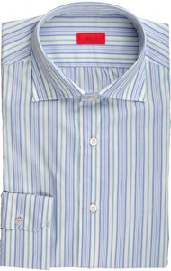 Isaia Napoli Dress Shirt Cotton 39 15 1/2 Blue Green Stripe 06SH0221