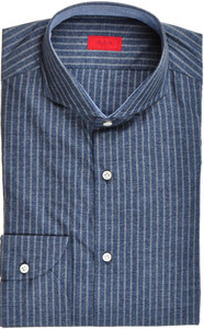 Isaia Napoli Dress Shirt Cotton 39 15 1/2 Blue Stripe 06SH0219