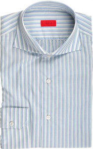 Isaia Napoli Dress Shirt Cotton 39 15 1/2 Blue Green Stripe 06SH0220