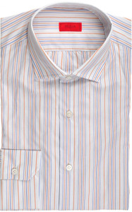 Isaia Napoli Dress Shirt Cotton 39 15 1/2 Blue Orange Stripe 06SH0218