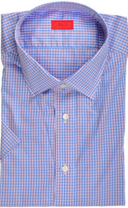Isaia Napoli Short Sleeve Dress Shirt Cotton 43 17 Blue Pink Check 06SH0217