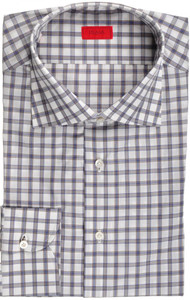 Isaia Napoli Dress Shirt Cotton 43 17 Blue Brown Check 06SH0216