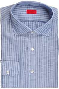 Isaia Napoli Dress Shirt Cotton 43 17 Blue Stripe 06SH0215