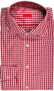 Isaia Napoli Dress Shirt Cotton 43 17 Burgundy Red Check 06SH0212