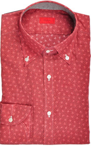Isaia Napoli Dress Shirt Cotton 39 15 1/2 Red Coral Geometric 06SH0239