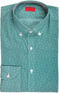 Isaia Napoli Dress Shirt Cotton 39 15 1/2 Green Coral Geometric 06SH0238