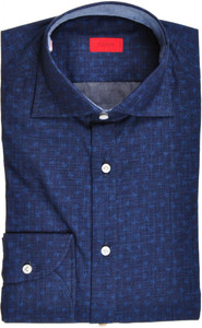 Isaia Napoli Dress Shirt Cotton 39 15 1/2 Blue Coral Geometric 06SH0237