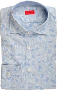 Isaia Napoli Half Placket Dress Shirt Cotton 39 15 1/2 Blue Floral