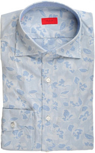 Isaia Napoli Half Placket Dress Shirt Cotton 39 15 1/2 Blue Floral 06SH0236