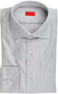 Isaia Napoli Dress Shirt Cotton 41 16 Gray Tonal Solid 06SH0235