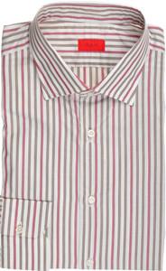 Isaia Napoli Dress Shirt Cotton 41 16 Green Red Stripe