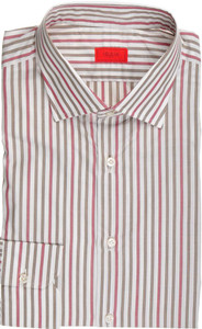 Isaia Napoli Dress Shirt Cotton 41 16 Green Red Stripe 06SH0233