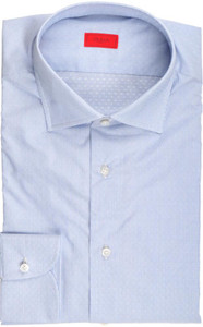 Isaia Napoli Dress Shirt Cotton 41 16 Blue Fancy Micro Stripe 06SH0234