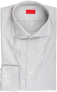 Isaia Napoli Dress Shirt Cotton 41 16 Gray Black Stripe 06SH0232