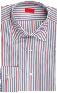 Isaia Napoli Dress Shirt Cotton 41 16 Blue Red Stripe 06SH0231