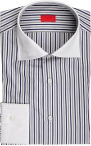 Isaia Napoli Dress Shirt Cotton 41 16 Blue Gray Stripe