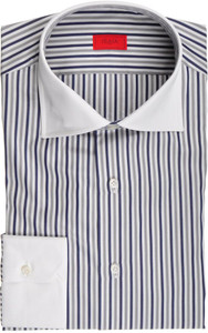 Isaia Napoli Dress Shirt Cotton 41 16 Blue Gray Stripe 06SH0230