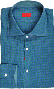 Isaia Napoli Dress Shirt Linen 41 16 Green Blue Check 06SH0229