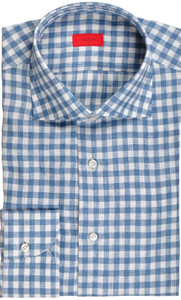 Isaia Napoli Dress Shirt Linen 41 16 Blue White Check 06SH0228