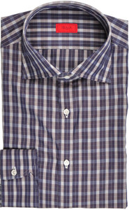 Isaia Napoli Dress Shirt Cotton 41 16 Blue White Check 06SH0227