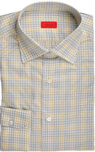 Isaia Napoli Dress Shirt Cotton 39 15 1/2 Gray Yellow Check 06SH0254