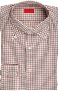 Isaia Napoli Dress Shirt Cotton 39 15 1/2 Pink Green Check 06SH0253