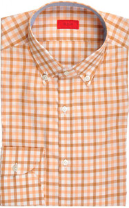 Isaia Napoli Dress Shirt Cotton 39 15 1/2 Orange Brown Check 06SH0252