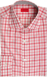 Isaia Napoli Dress Shirt Cotton 39 15 1/2 Red White Check 06SH0251
