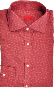Isaia Napoli Dress Shirt Cotton 39 15 1/2 Red Coral Geometric 06SH0250
