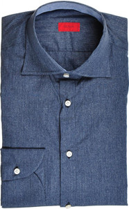 Isaia Napoli Half Placket Dress Shirt Cotton 39 15 1/2 Blue 06SH0248